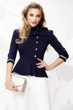 Szűkített sötétkék irodai női ing enyhén elasztikus pamutból masni díszítéssel