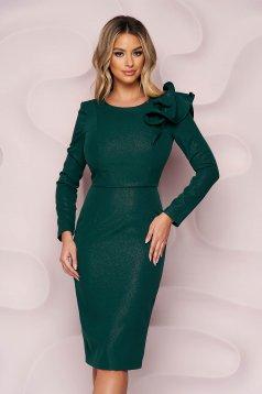 StarShinerS sötétzöld ruha enyhén rugalmas szövetből alkalmi ceruza fodros