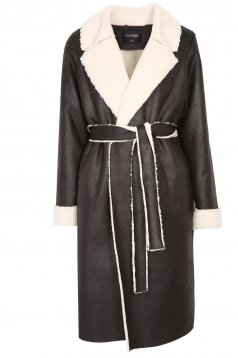 Fekete bő szabású midi dzseki bundabélessel ellátva, szintetikus bőrből, eltávolítható övvel