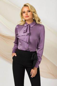 Sötétlila irodai női ing enyhén rugalmas szatén anyagból egyenes szabású bő ujjal