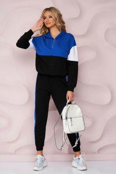 Kék casual kétrészes nadrágos sportos szettek enyhén elasztikus pamut